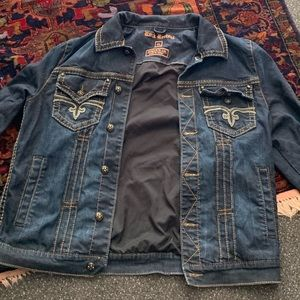 Rock revival denim jean jacket for new XL